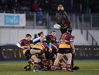 Rugby Union - 2021 Greene King IPA Championship - Saracens vs Ampthill - StoneX Stadium<br /> <br /> Ampthill's Will Porter under pressure from Saracens' Maro Itoje.<br /> <br /> COLORSPORT
