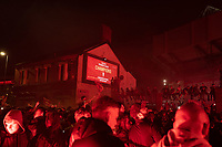 Football - 2019 / 2020 Premier League - Liverpool vs Chelsea<br /> Fans celebrate outside the stadium, at Anfield<br /> <br /> Credit: COLORSPORT/TERRY DONNELLY