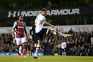 Kyle Walker of Tottenham Hotspur takes a shot to score his teams 4th goal to make it 4-0 .Barclays Premier league match, Tottenham Hotspur v West Ham Utd at White Hart Lane in London on Sunday 22nd November 2015.<br /> pic by John Patrick Fletcher, Andrew Orchard sports photography.