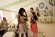 PHOEBE VELA; CHARLOTTE SORATO; ROMEO THE DOG, Cartier International Polo. Smiths Lawn. Windsor. 24 July 2011. <br /> <br />  , -DO NOT ARCHIVE-© Copyright Photograph by Dafydd Jones. 248 Clapham Rd. London SW9 0PZ. Tel 0207 820 0771. www.dafjones.com.