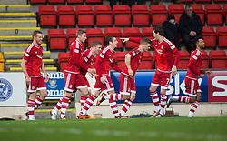 Aberdeen's Peter Pawlett cele scoring their second goal. <br /> half time : St Johnstone 0 v 2 Aberdeen, SPFL Ladbrokes Premiership played 6/2/2016 at McDiarmid Park, Perth.