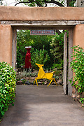 """""""Paper Dress"""" and """"Dancing Pony"""" welcome visitors into the garden at Kay Contemporary Art in Santa Fe."""