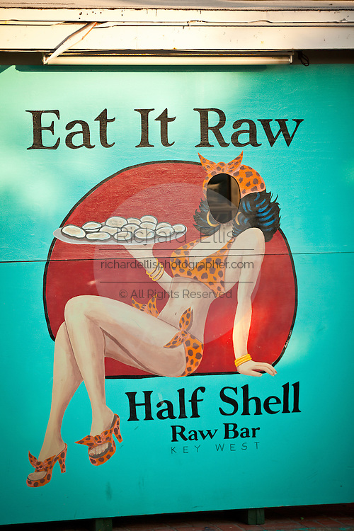 Half Shell Raw bar & restaurant and wall mural Key West, Florida.