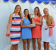 Henley on Thames. United Kingdom. GBR W4X.  Polly SWANN, Vicky MAYER-LAKER, Frances HOUGHTON and Helen GLOVER. with the Princess Grace Challenge Cup.  2013 Henley Royal Regatta, Henley Reach. 17:05:46  Sunday  07/07/2013  [Mandatory Credit; Intersport Images]