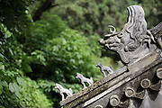 Roof tiles on a temple at Tanzhesi. Situated in the Western Hills, this Buddhist temple lies 45km west of Beijing. The temple name means 'Dragon Pool and Mulberry Tree Temple', due to its proximity to the Dragon Pool and the trees growing in the surrounding hills.....