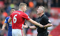 19.03.2017, Riverside Stadium, Middlesbrough, ENG, Premier League, FC Middlesbrough vs Manchester United, 29. Runde, im Bild Referee Jonathan Moss (r) pulls Ben Gibson of Middlesbrough away from the scuffle // Referee Jonathan Moss (r) pulls Ben Gibson of Middlesbrough away from the scuffle during the English Premier League 29th round match between FC Middlesbrough and Manchester United at the Riverside Stadium in Middlesbrough, Great Britain on 2017/03/19. EXPA Pictures © 2017, PhotoCredit: EXPA/ Focus Images/ Simon Moore<br /> <br /> *****ATTENTION - for AUT, GER, FRA, ITA, SUI, POL, CRO, SLO only*****