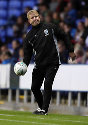 """Gillingham manager Adrian Pennock on the touchline during the Carabao Cup, first round match at the Madejski Stadium, Reading. PRESS ASSOCIATION Photo. Picture date: Tuesday August 8, 2017. See PA story SOCCER Reading. Photo credit should read: Andrew Matthews/PA Wire. RESTRICTIONS: EDITORIAL USE ONLY No use with unauthorised audio, video, data, fixture lists, club/league logos or """"live"""" services. Online in-match use limited to 75 images, no video emulation. No use in betting, games or single club/league/player publications."""