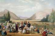 First Anglo-Afghan War 1838-42: Dost Mohammed Khan surrendering to William MacNaghten (1793-1841) taking his morning ride outside Cabul (Kabul). MacNaghten shot by Akbar Khan 23 December 1841. From J Atkinson 'Sketches in Afghanistan' London 1842. Hand-coloured lithograph.