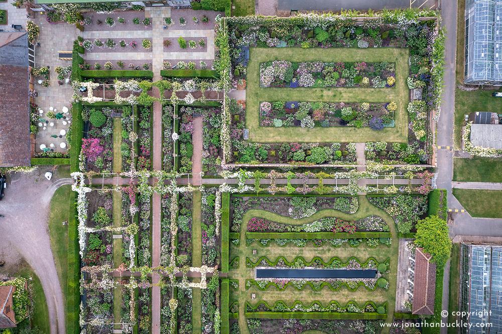 Aerial view of The  Long Garden, Lion Garden and Renaissance Garden at The David Austin Rose Gardens