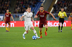 November 27, 2018 - Rome, Italy - Bryan Cristante, Toni Kroos during the UEFA Champions League match group G between AS Roma and Real Madrid FC at the Olympic stadium on november 27, 2018 in Rome, Italy. (Credit Image: © Silvia Lore/NurPhoto via ZUMA Press)