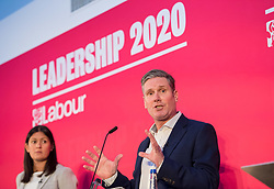 © Licensed to London News Pictures. 01/02/2020. Bristol, UK. LISA NANDY, KIER STARMER, at the Labour Party Leadership Hustings, at Ashton Gate Stadium. Candidates: Emily Thornberry, Lisa Nandy, Kier Starmer, Rebecca Long-Bailey. Photo credit: Simon Chapman/LNP.