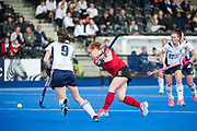 Holcombe's Sarah Jones shots. East Grinstead v Holcombe - Semi-Final - Investec Women's Hockey League Finals, Lee Valley Hockey & Tennis Centre, London, UK on 22 April 2017. Photo: Simon Parker