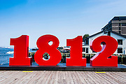 Sign for 1812 when war was declared on the Halifax Waterfront, Halifax, Nova Scotia, Canada
