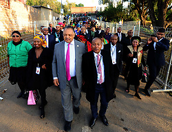 American civil rights activist Rev. Jesse Jackson and mourners at the Madikizela-Mandela home during the Family Valedictory service ahead of the Special Official Funeral service for the late Winnie Madikizela-Mandela at Orlando Stadium in Soweto, Gauteng Province. South Africa. 14/04/2018. Siyabulela Duda