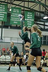 23 September 2017:  Rachel Burkman during an NCAA womens division 3 Volleyball match between the Tufts Jumbos and the Illinois Wesleyan Titans in Shirk Center, Bloomington IL