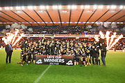 Edinburgh celebrate winning the 1872 Cup and the Guinness Pro 14 2017_18 match between Edinburgh Rugby and Glasgow Warriors at Myreside Stadium, Edinburgh, Scotland on 28 April 2018. Picture by Kevin Murray.