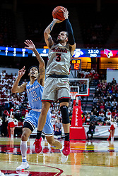 NORMAL, IL - February 08: Ricky Torres shoots for 2 from the edge of the lane with his defender (Christian Williams) woefully out of position during a college basketball game between the ISU Redbirds and the Indiana State Sycamores on February 08 2020 at Redbird Arena in Normal, IL. (Photo by Alan Look)