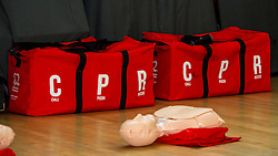 Pictured: <br /> Minister for Public Health Aileen Campbell joined P7 and S1 students at Beeslack High School in Penicuik for CPR training session attended by representatives from NHS, Police, fire and ambulance services.<br /> <br /> <br /> Ger Harley | EEm 24 November 2016