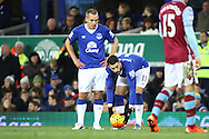 Kevin Mirallas of Everton (c) gets ready to take a free kick. Barclays Premier League match, Everton v Aston Villa at Goodison Park in Liverpool on Saturday 21st November 2015.<br /> pic by Chris Stading, Andrew Orchard sports photography.