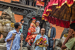Unika Vajracharya leaves her home to give blessings on an auspicious day. Today there are just 10 kumaris in Nepal, nine of them in the Kathmandu Valley. They're still selected only from families attached to certain bahals, or traditional courtyard communities, and all their ancestors must have come from a high caste.