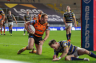 Liam Watts celebrates during the Betfred Super League match between Leeds Rhinos and Castleford Tigers at Emerald Headingley Stadium, Leeds, United Kingdom on 26 October 2020.