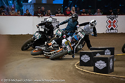 Jason Klements going down in the Hooligan Flat Track Racing at the pre-Born Free Stampede in the City of Industry, CA, USA. Thursday, June 20, 2019. Photography ©2019 Michael Lichter.