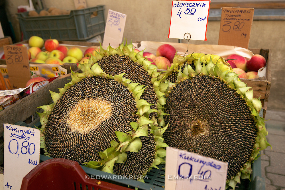 Ripe sunflower heads for sale in a food market in Poland.
