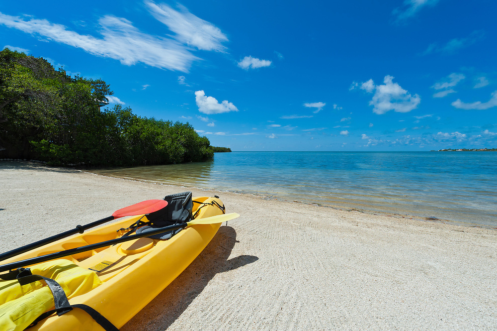 Kayak ready to be used in the beach in the Florida Keys