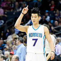 03 November 2015: Charlotte Hornets guard Jeremy Lin (7) reacts during the Charlotte Hornets  130-105 victory over the Chicago Bulls, at the Time Warner Cable Arena, in Charlotte, North Carolina, USA.