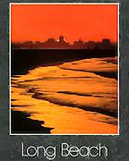 Postcard photo of Long Beach, California skyline at sunset.