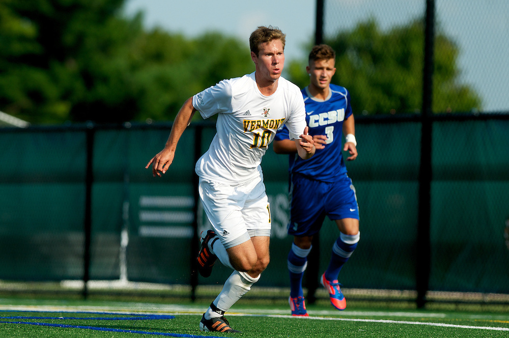 \Catamounts midfielder Noah Johnson (10) in action during the men's soccer game between the Central Connecticut State University Blue Devils and the Vermont Catamounts at Virtue Field on Friday afternoon September 7, 2012 in Burlington, Vermont.