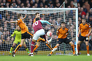 Mauro Zarate of West Ham United takes a shot for goal just outside the box but sees it blocked. The Emirates FA cup, 3rd round match, West Ham Utd v Wolverhampton Wanderers at the Boleyn Ground, Upton Park  in London on Saturday 9th January 2016.<br /> pic by John Patrick Fletcher, Andrew Orchard sports photography.