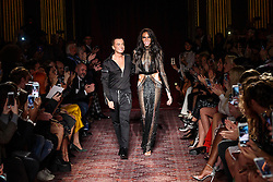 Model Winnie Harlow with designer Julien Macdonald on the catwalk during the Julien Macdonald Autumn/Winter 2017 London Fashion Week show at Goldsmith's Hall, London.PRESS ASSOCIATION Photo. Picture date: Saturday February 18th, 2017. Photo credit should read: Matt Crossick/PA Wire.