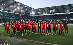 WOLFSBURG, April 30, 2017  Members of Bayern Munich celebrate winning the title after the German Bundesliga match between VfL Wolfsburg and FC Bayern Munich in Wolfsburg, Germany on April 29, 2017. Bayern Munich won 6-0 to clinch its fifth consecutive Bundeslisga title ahead of schedule at the 31st round on Saturday. (Credit Image: © Shan Yuqi/Xinhua via ZUMA Wire)