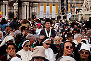Believers waiting for the mass celebrated by Pope Benedict XVI for thousands of people on the most important square in the country. The pope is on a four-day visit to Portugal, one of the countries with the highest percentage of Catholics in Europe, Lisbon, Portugal.