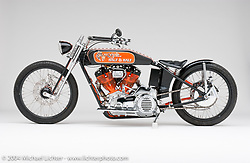 """""""Half and Half,"""" developed from a modified version of Arlen's Antique Kit which was designed for Sportsters. The inverse paint scheme was done for fun. Bike appears in the book """"The King of Choppers,"""" by Michael Lichter and Arlen Ness."""