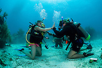 Young divers practice skills on their first certification checkout dive....Shot in British Virgin Islands