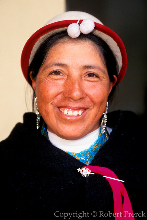 ECUADOR, HIGHLANDS, CANAR Canari Indian with traditional hats