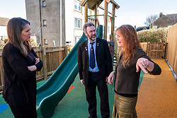 Pictured: Aileen Campbell and Councillor Steven Heddle (representing COSLA) were shown the facilities that last years award helped deliver by Hub manager Bridie Ashraven <br /> <br /> Aileen Campbell, MSP, on visit to Space in ESpacedinburgh, a previous charity recipient, announced the  latest £25m regeneration funding. <br /> <br /> Ger Harley   EEm 27 February 2020
