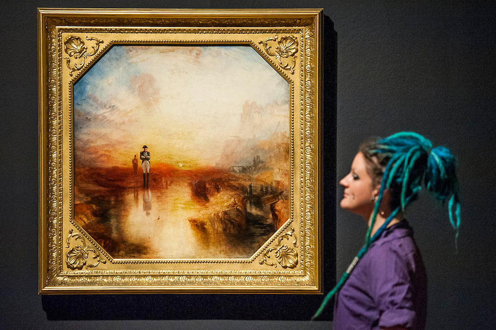 War:Excile and the rock, Square paintings -The EY Exhibition: Late Turner – Painting Set Free - the first exhibition to survey Turner's final period of work (1835-51). From the age of 60 until his death. Highlights include: his 'radical' square oil paintings (pictured) in recently restored frames - at the time of their creation, these works were his most controversial and were famously subjected to a hail of abuse in the press; Bamborough Castle c.1837 – an important work from a private collection which has only been displayed in public once in 125 years; Ancient Rome and Modern Rome c.1839 – brought together for the first time in a generation; and Turner's three final masterpieces shown in newly reconstructed frames: Mercury Sent to Admonish Aeneas, The Visit to the Tomb and The Departure of the Fleet c.1850. The show runs from 10 Sept to 25 January. Tate Britain, London, UK, 08 Sept 2014.