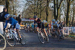 Lisa Brennauer streams through the finish for two final local laps around Dwingeloo - Drentse 8, a 140km road race starting and finishing in Dwingeloo, on March 13, 2016 in Drenthe, Netherlands.