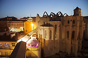 The ruins of Carmo's Convent at twilight, seen from Santa Justa Lift lookout, in Lisbon.