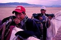 Mongolie, Province d'Arkhangai, Cavalier nomades. // Mongolia, Arkhangai province, nomad Horseman.