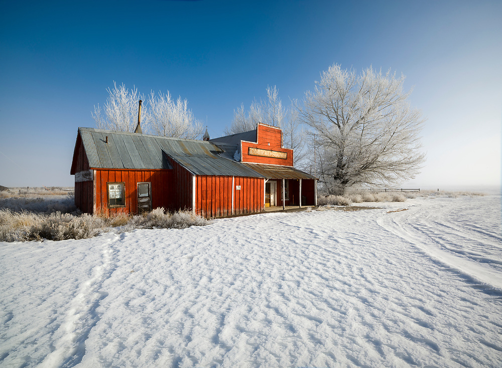 Licensing - Open Edition Prints<br /> Corral Store long closed and abandoned still graces the Camas Prairie in Southwest Idaho on a cold winter morning
