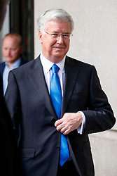 © Licensed to London News Pictures. 14/05/2017. London, UK. Defence Secretary MICHAEL FALLON leaves BBC Broadcasting House in London after appearing on The Andrew Marr show on BBC One on Sunday 14 May 2017. Photo credit: Tolga Akmen/LNP