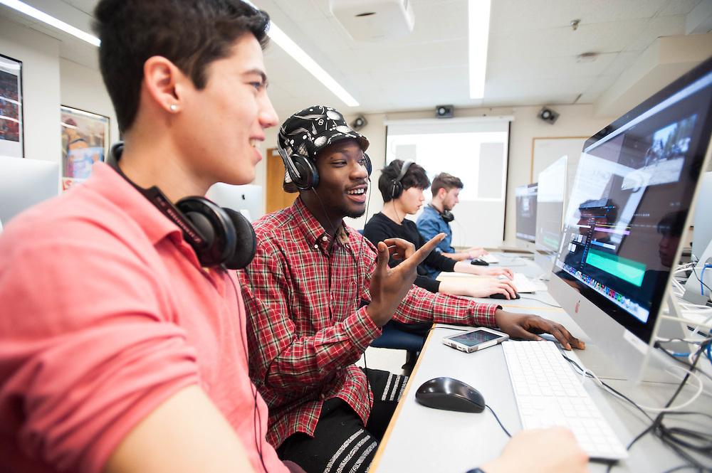 Brandeis students in a digital editing class in Waltham, MA.