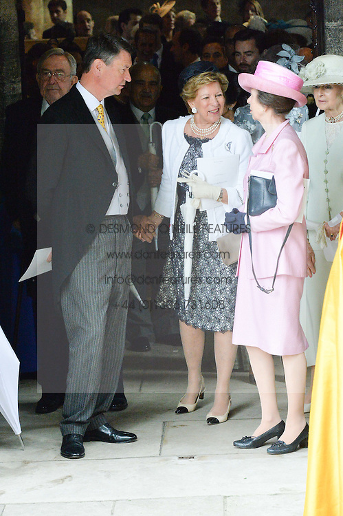 Left to right, SIR TIM LAWRENCE, Ex Queen Anne-Marie of Greece and The Princess Royal at the wedding of the Hon.Alexandra Knatchbull to Thomas Hooper held at Romsey Abbey, Romsey, Hampshire on 25th June 2016