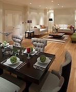 dining area and lounge in showhouse, london