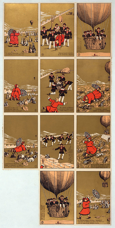 French satircal collecting cards.Chinese Governor of Bac-Ninh, Vietnam, with his rabbits, sees balloon carrying French sailors approaching. Sailors land,take Governor prisoner, and make rabbit stew, c1895. French Indo-China