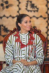 The Duchess of Sussex attends an exhibition of Tongan handicrafts at the Fa'onelua Convention Centre, in Nuku'Alofa, Tonga, on day two of the royal couple's visit to Tonga.